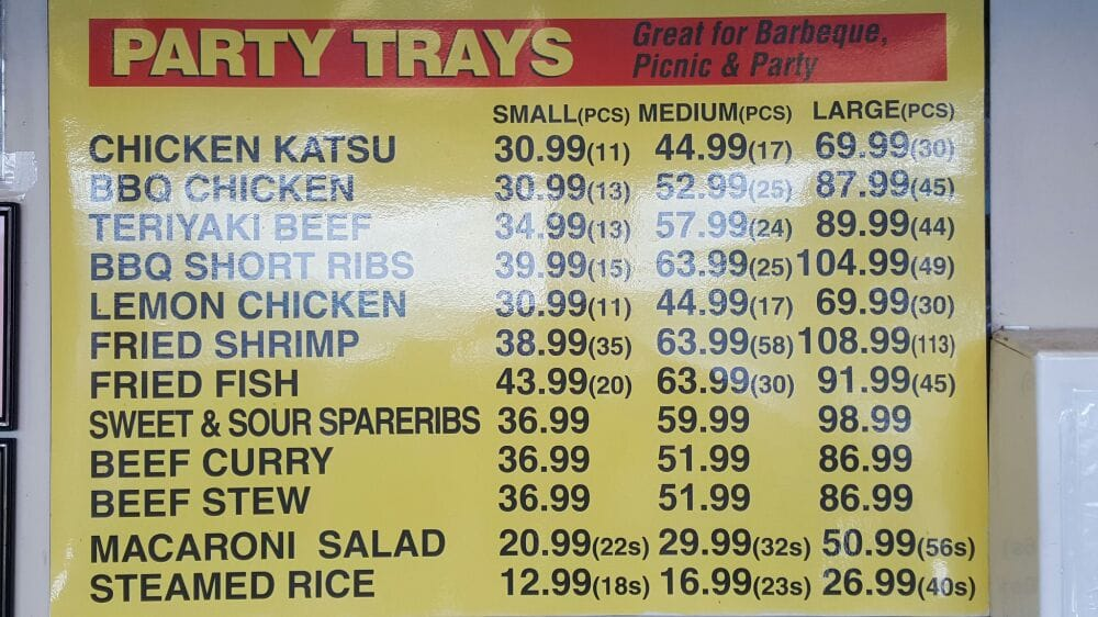 Party tray menu Call us to place your order! Prices subject to
