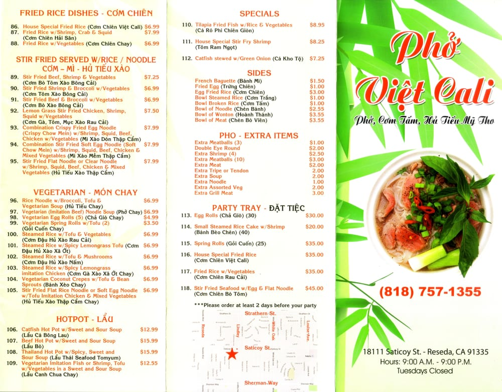 Pho Viet Cali in Reseda (Saticoy St  Lindley Ave) - To Go Menu
