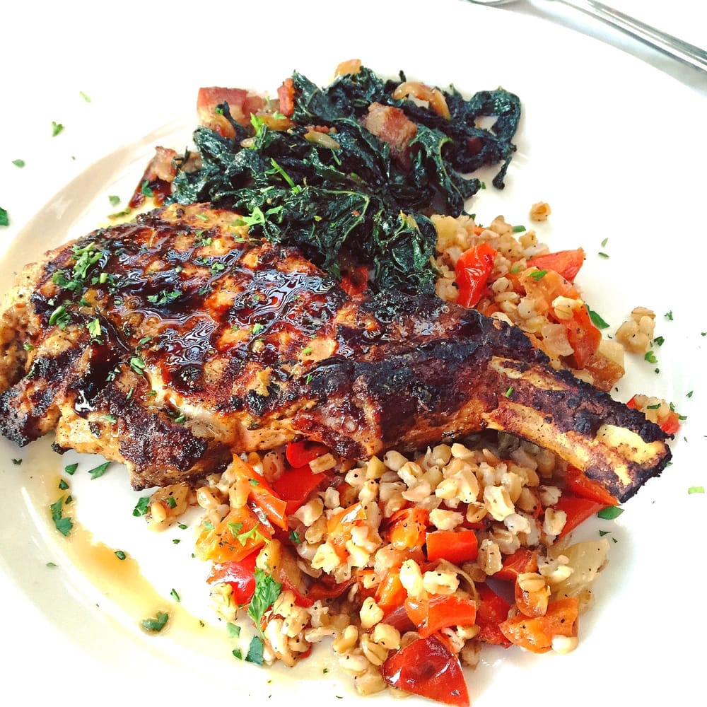 Cucina Restaurant Sedona Az Pork Chop With Farro And Kale Bacon Yelp
