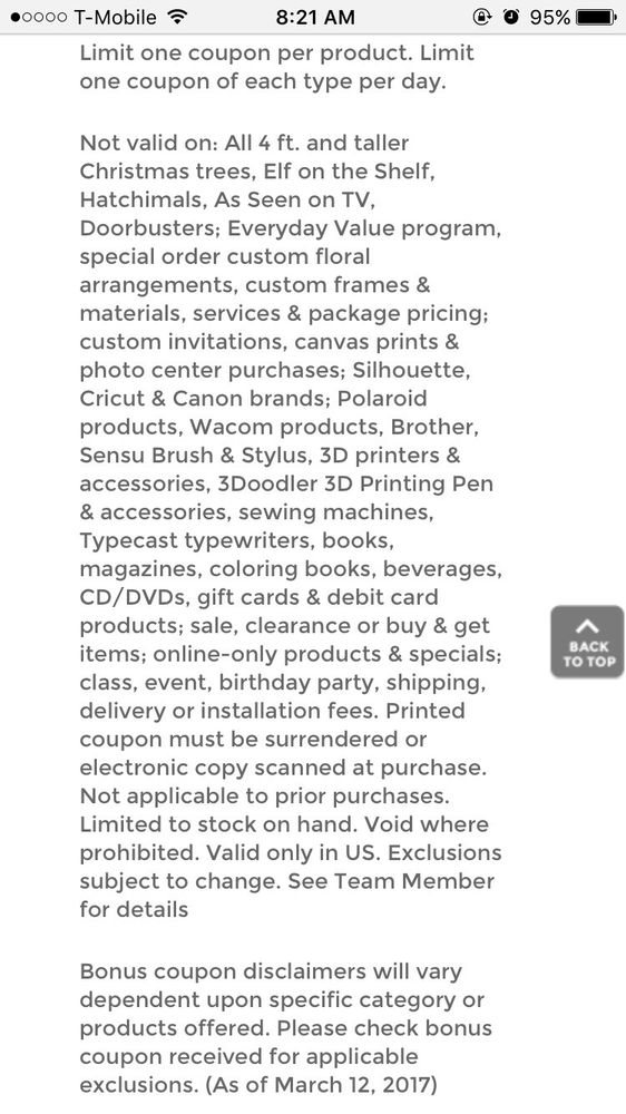 Thread for days - Yelp - coupon disclaimers
