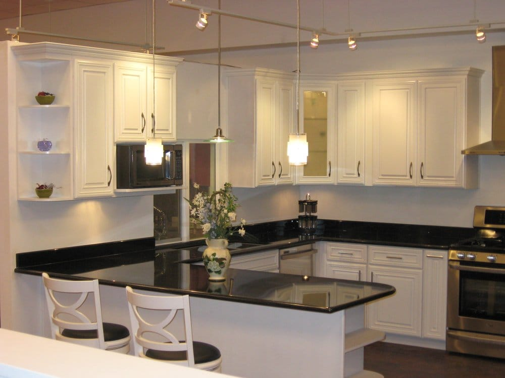 White Cabinets With Dark Granite (white) Ivory Maple Cabinets With Black Galaxy Granite. - Yelp