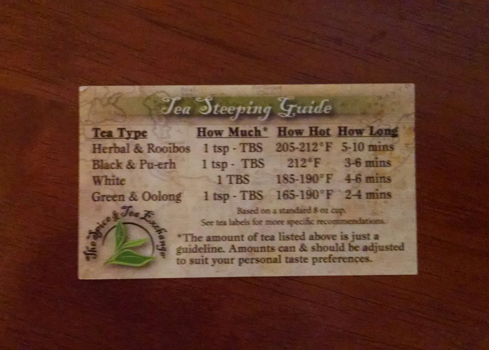 Tea steeping guide from back of business card - Yelp