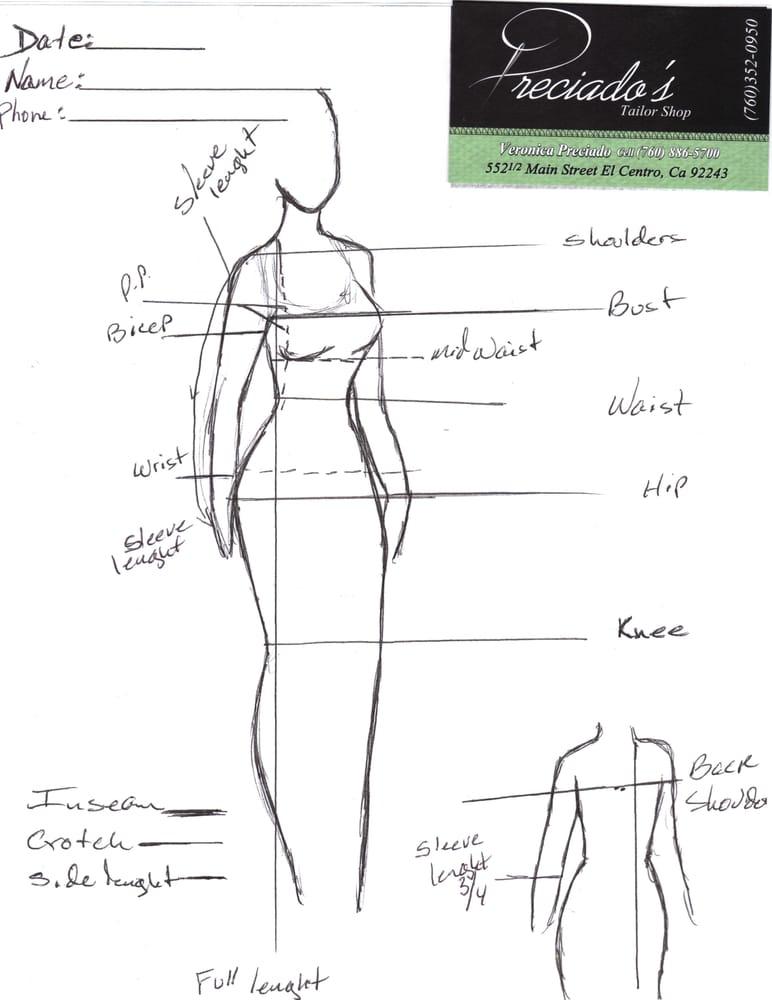 Body measurements chart aveilable for men and women - Yelp
