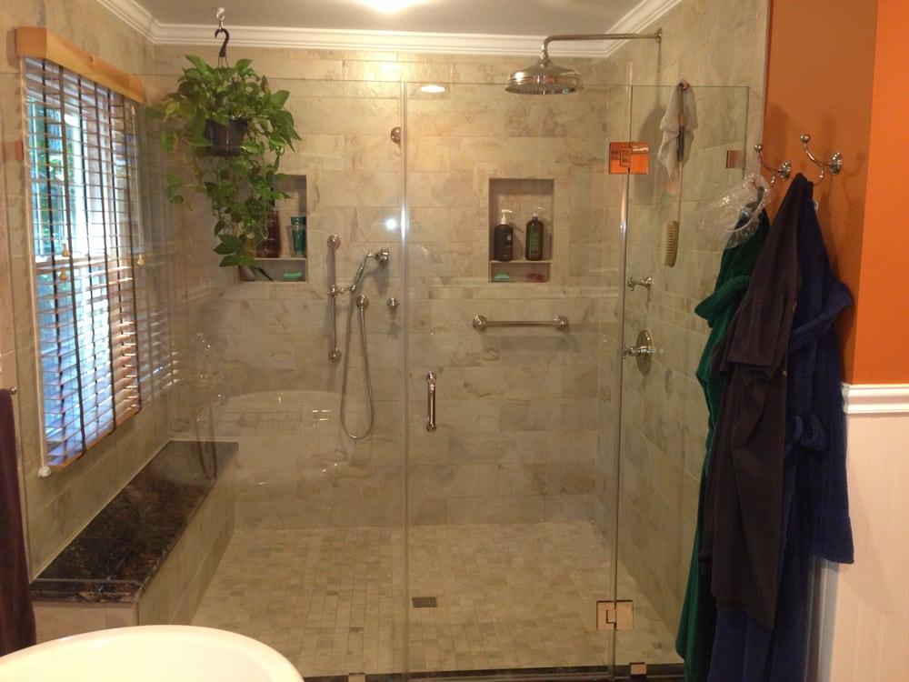 Large Walk In Shower Enclosure W Granite Bench Seating