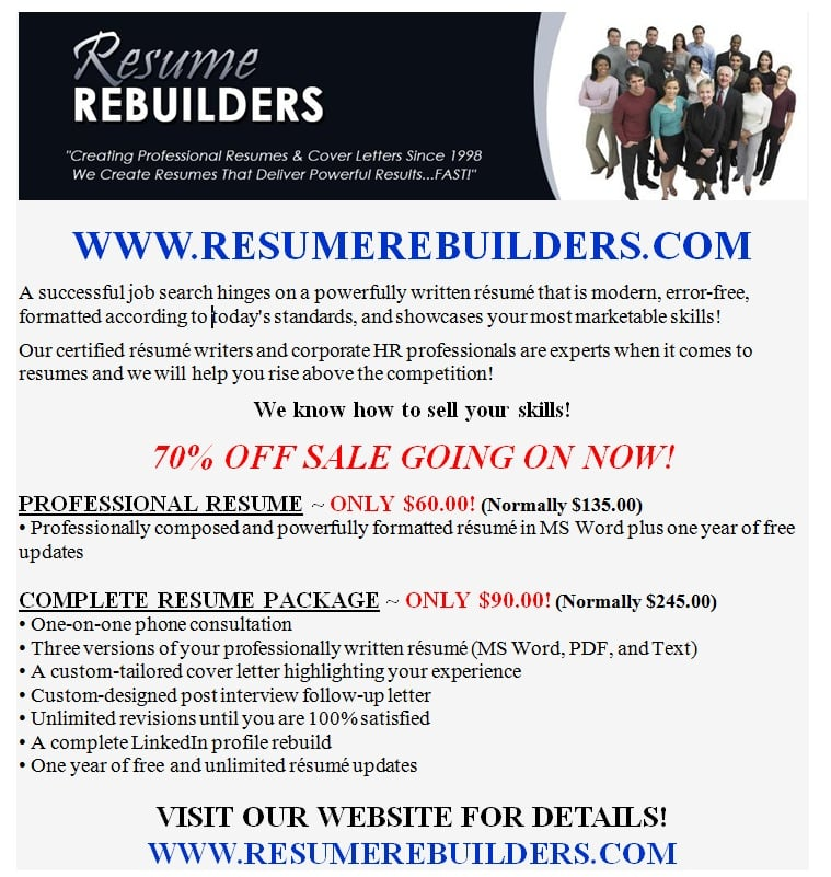 Resume Rebuilders - Request a Quote - Editorial Services - East Town