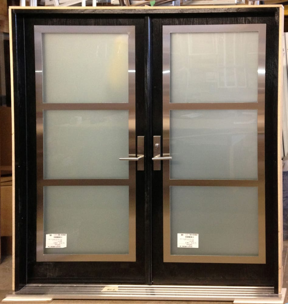 Window Inserts Canada Double Door With Stainless Steel Frame On Top Of Glass Inserts
