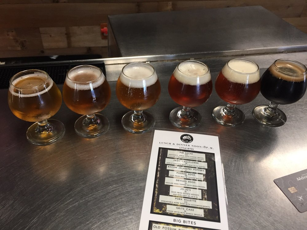 A sampler of everything on tap, and the food menu Almost got my