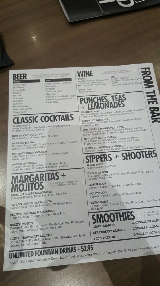 Drink menu - Yelp
