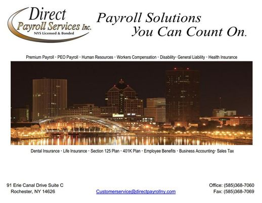 Direct Payroll Services - Get Quote - Tax Services - 91 Erie Canal