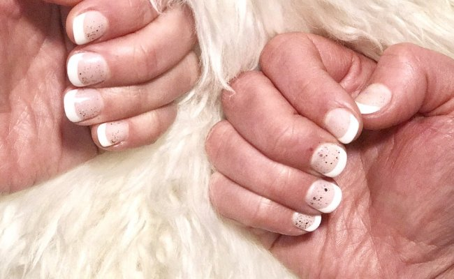 French Tip Using Sns Dip Powder Nail And A Little Gel Glitter On Top Happiness Yelp