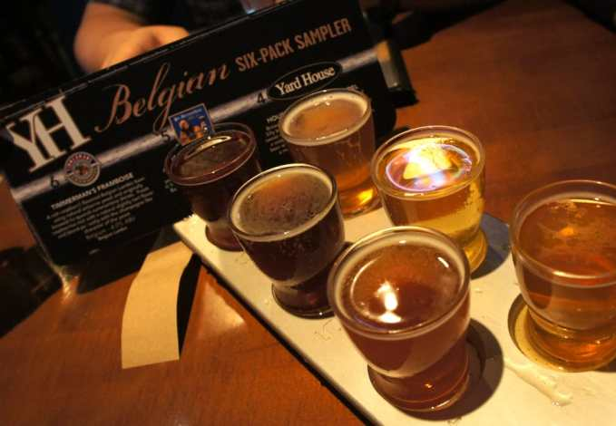 Yard House - Houston, TX, United States. Belgian six pack sampler