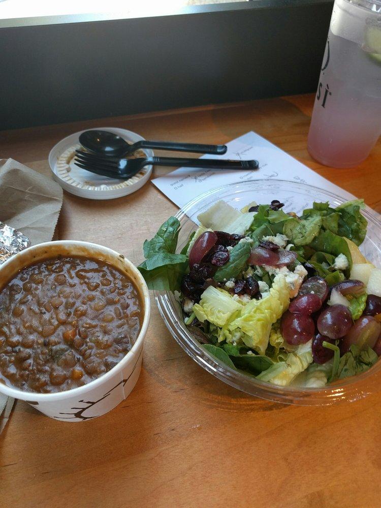 Mediterranean Lentil soup, signature salad, and strawberry mojito