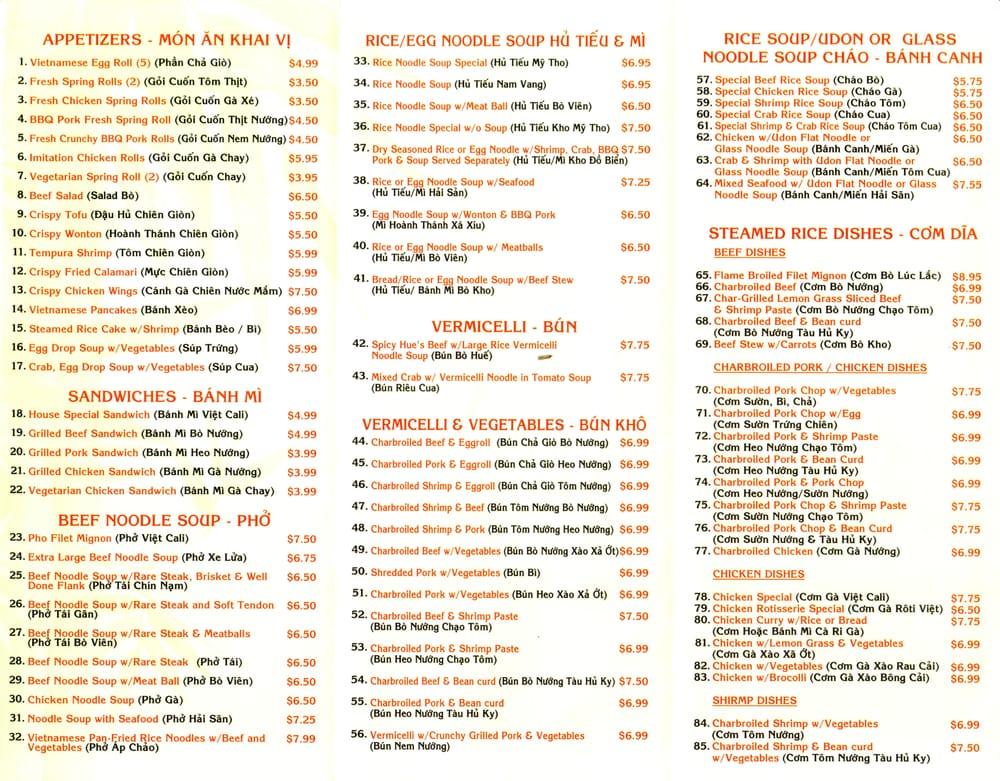 Pho Viet Cali in Reseda (Saticoy St  Lindley Ave) - To Go Menu - restaurant to go menu