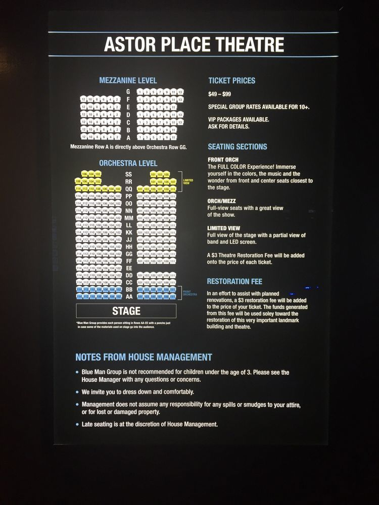 Astor Place Theater seating chart - Yelp