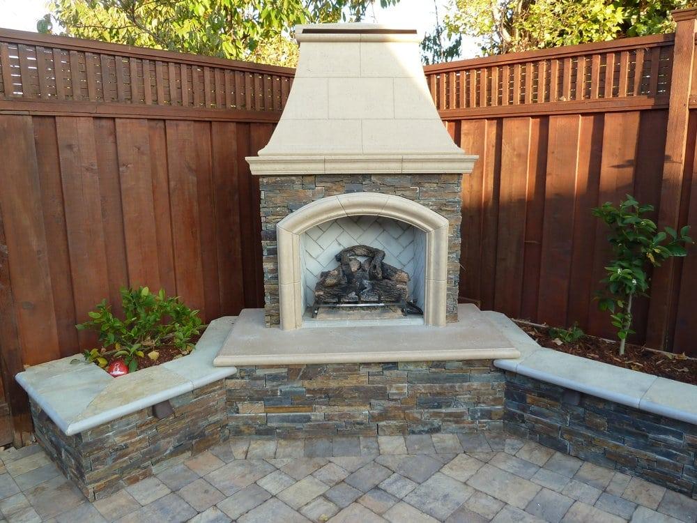 Custom Ledge Stone Veneer Outdoor Fireplace Sitting Wall
