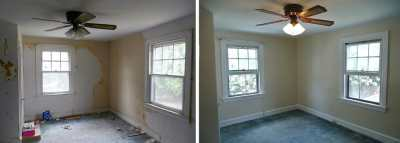 Before and after wallpaper removal, window trim, wall and ceiling painting done by painting ...