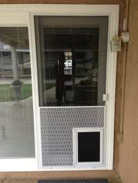 New sliding screen door with pet grill and pet door - Yelp