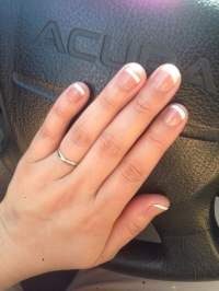 Gel manicure with a base color and white tips , Kelly was ...