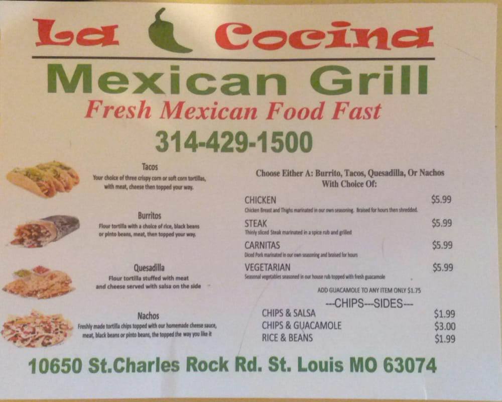 La Cocina Mexican Restaurant Chicago La Cocina Mexican Grill Mexican 10650 St Charles Rock Rd St