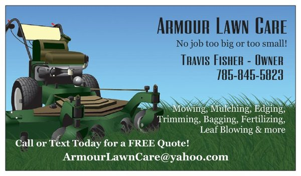 Armour Lawn Care - Get Quote - Landscaping - Berryton, KS - Phone - lawn care business cards