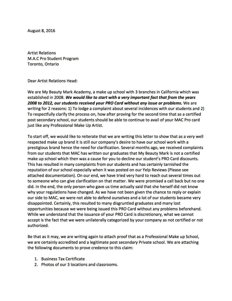 Formal letter of complaint to MAC Cosmetics about the PRO Card We