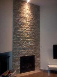 ledgestone around gas fireplace on 12ft wall - Yelp