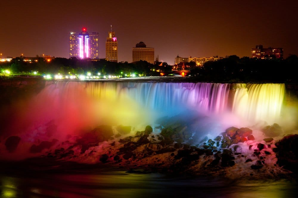 Niagara Falls Moving Wallpaper Niagara Falls In Rainbow Colors At Night Yelp
