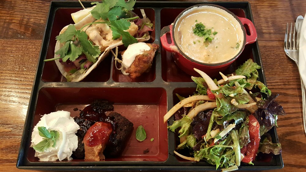 Lunch Bento Box With Cod Taco Chowder House Mix Salad