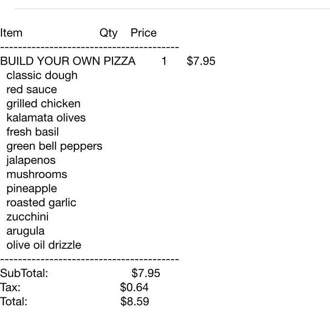 My online order receipt - Yelp
