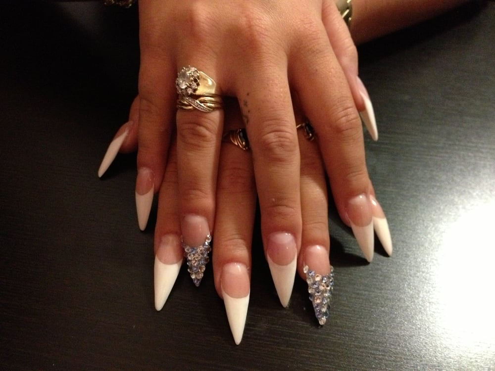French Stiletto Nails With Swarovski Crystals Yelp