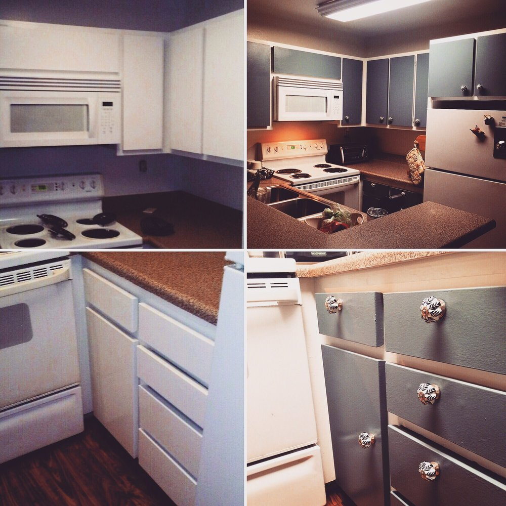 Paint My Kitchen Cabinets Before And After Jake Painted My Boring White Kitchen Cabinets