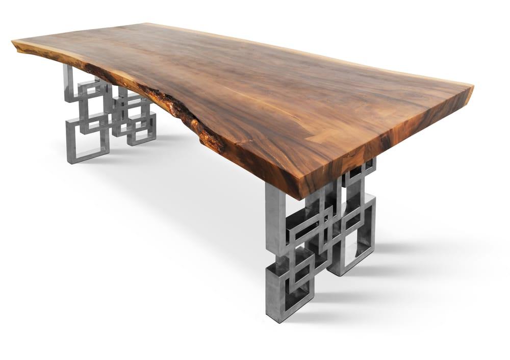 7393quot Live Edge Hardwood Dining Table On Polished Custom