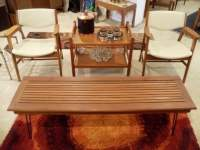 Mid Century Gunlocke Armchairs with Teak Coffee Table and ...