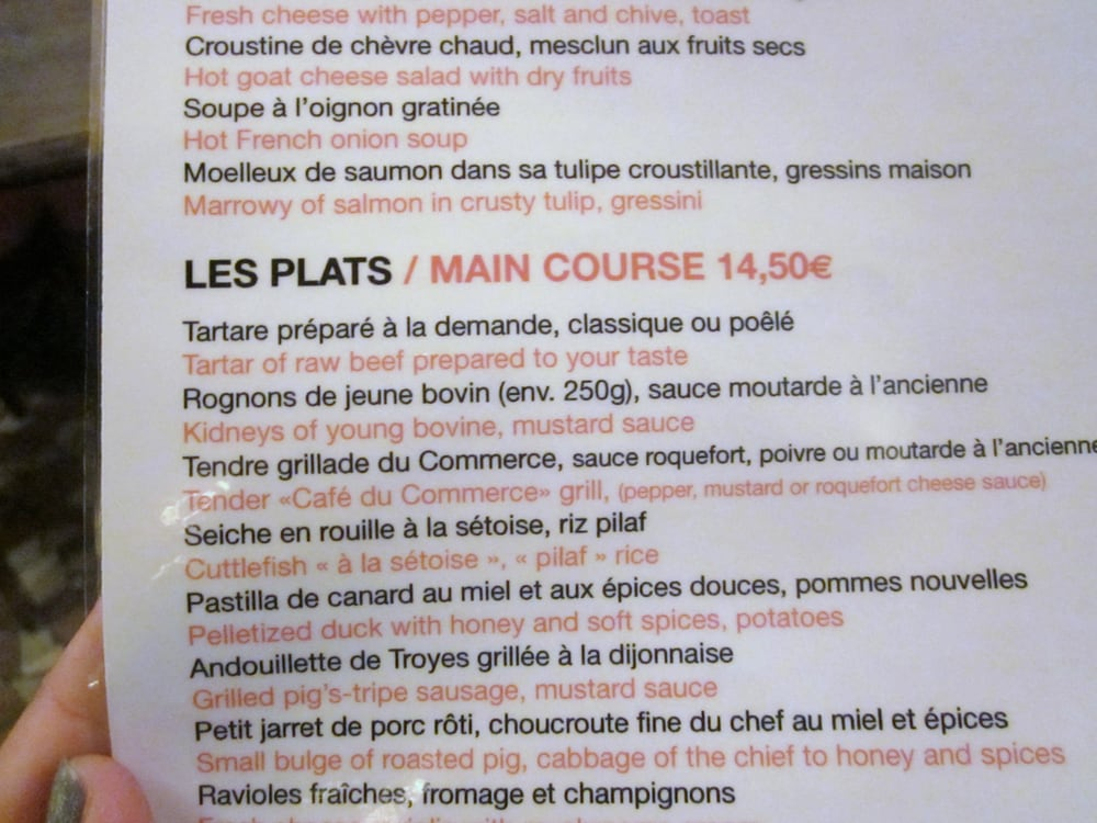 You can ask for an English-French menu - Yelp