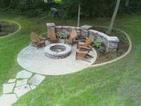 Paver Fire Pit Area with Sitting Walls