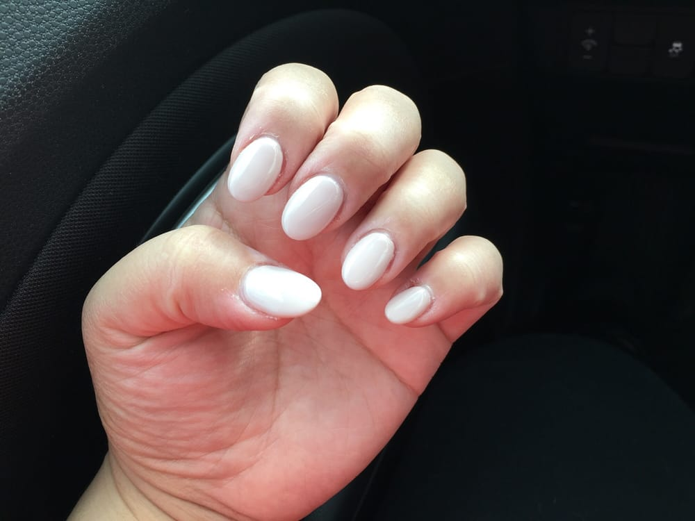 Acrylic Almond Shaped Nails With Nude Pink Gel Polish Yelp