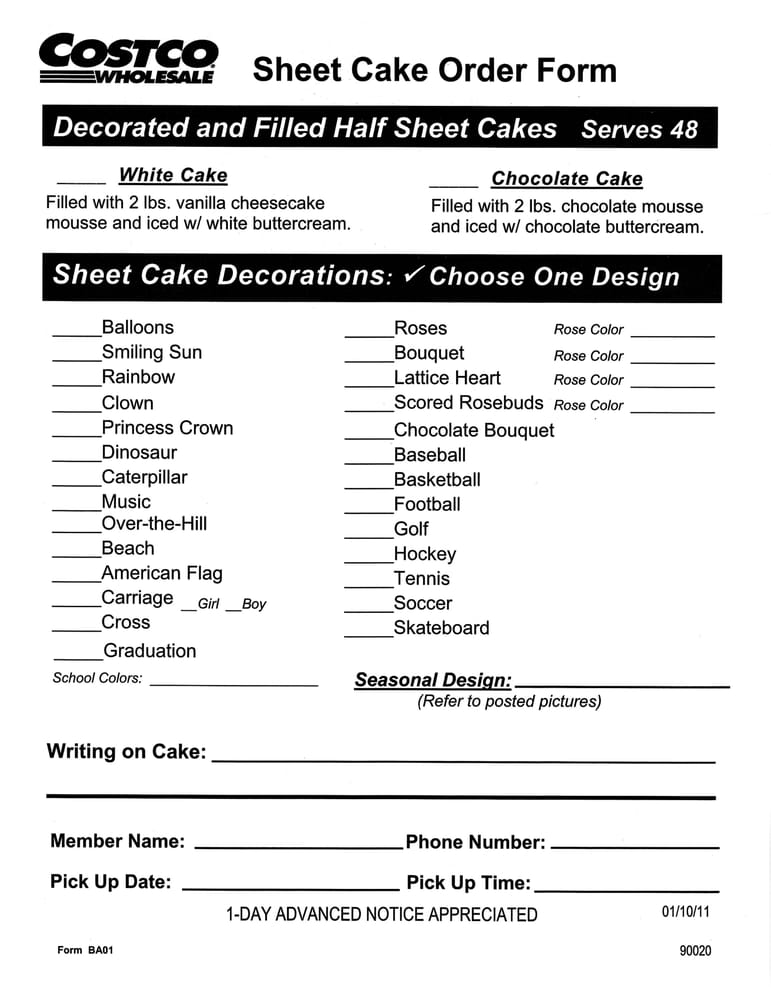 COSTCO CAKE PRICES ORDER BIRTHDAY, WEDDING  BABY SHOWER Cakes - cake order forms