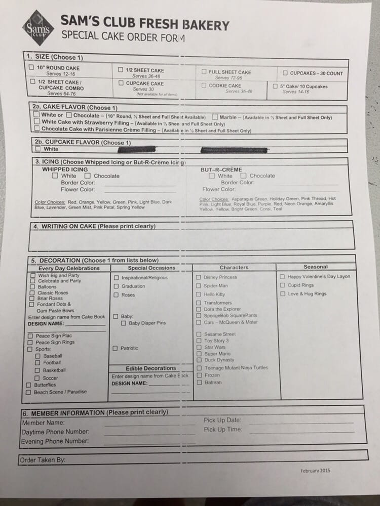 sam s club cake order form - Olalapropx - cake order forms
