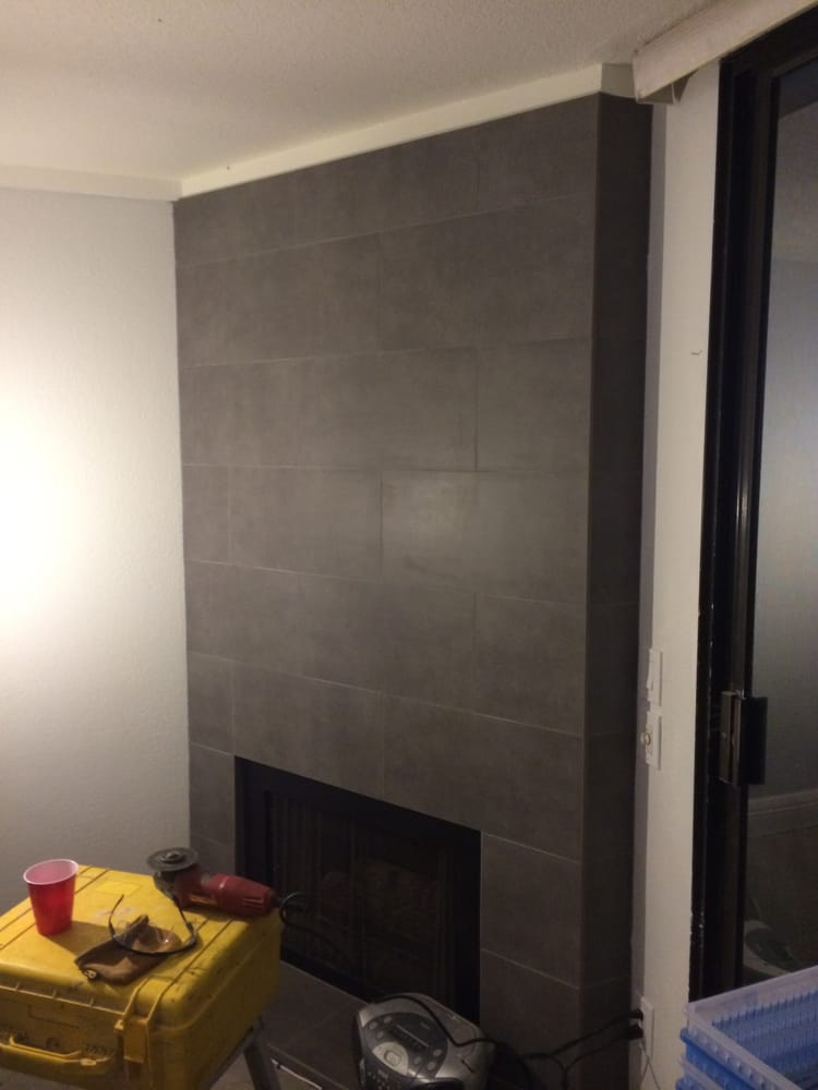 12quot X 24quot Porcelain Tile On Fireplace Wall And Hearth Yelp
