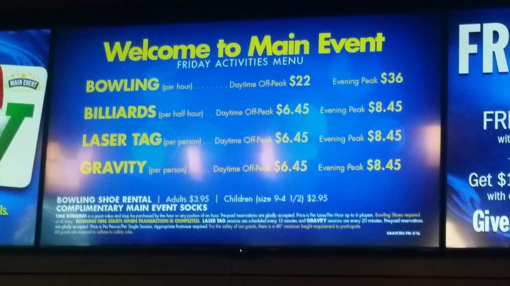 Main event pricing - Yelp