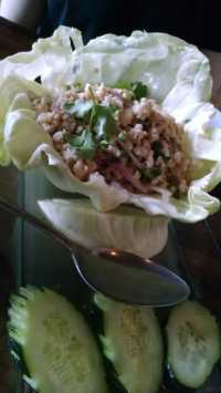 Larb Gai: Chicken, lemon, red onion, cilantro, cabbage - Yelp