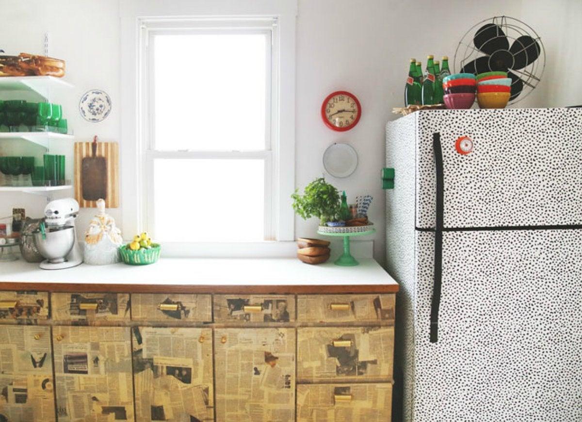 diy kitchen update rental friendly kitchen update wallpaper cabinets