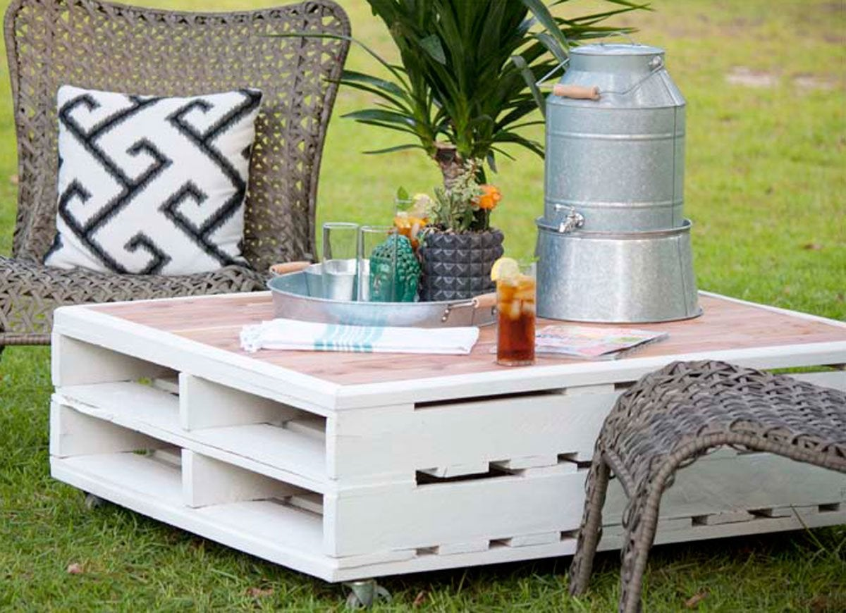 Diy Table With Pallets Diy Patio Table 15 Easy Ways To Make Your Own Bob Vila