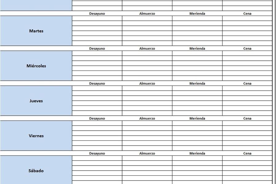 Planilla de Excel para el Control de Alimentación Semanal - formatos de minutas en excel
