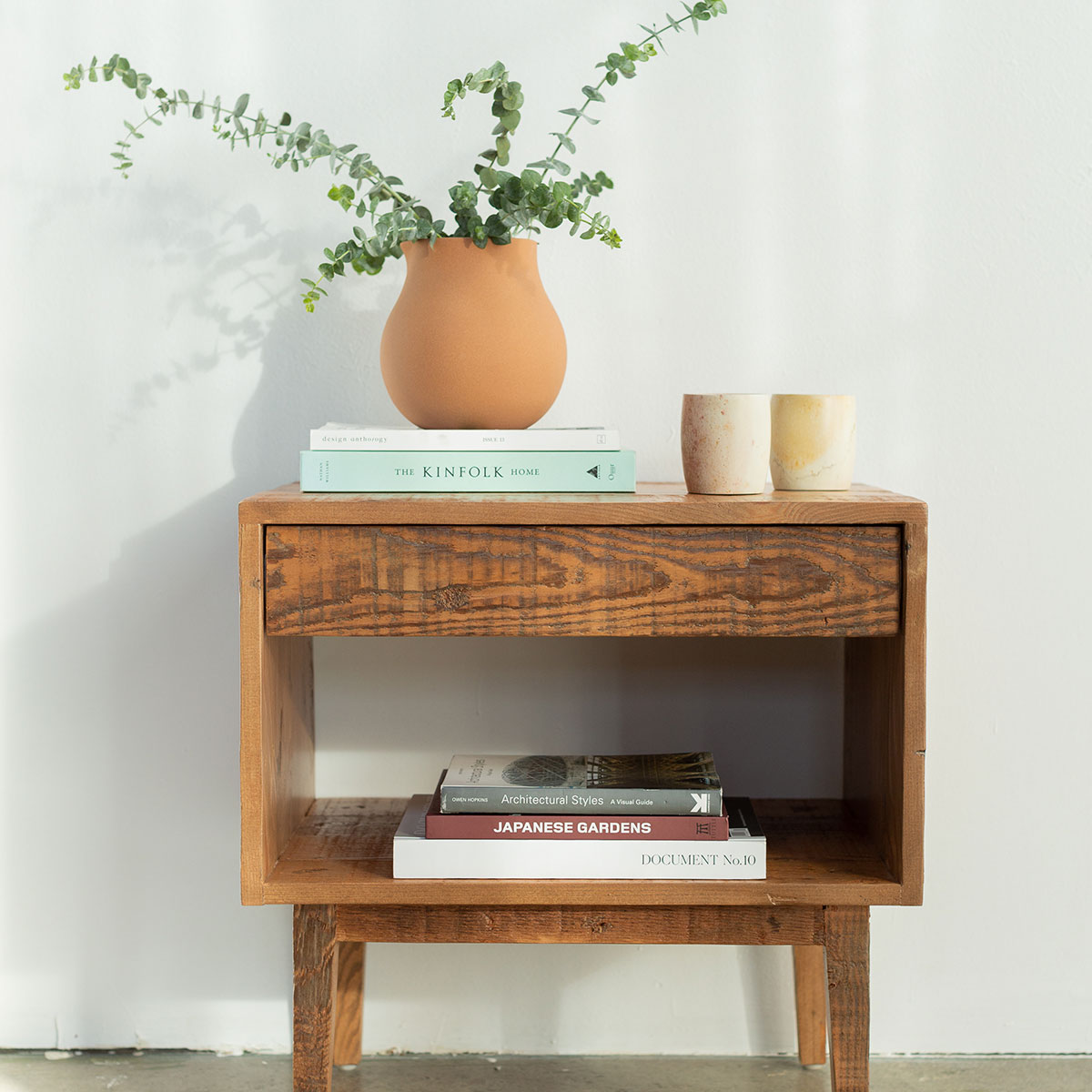 Rustic Wood End Table Natural Wood End Table 1 Drawer