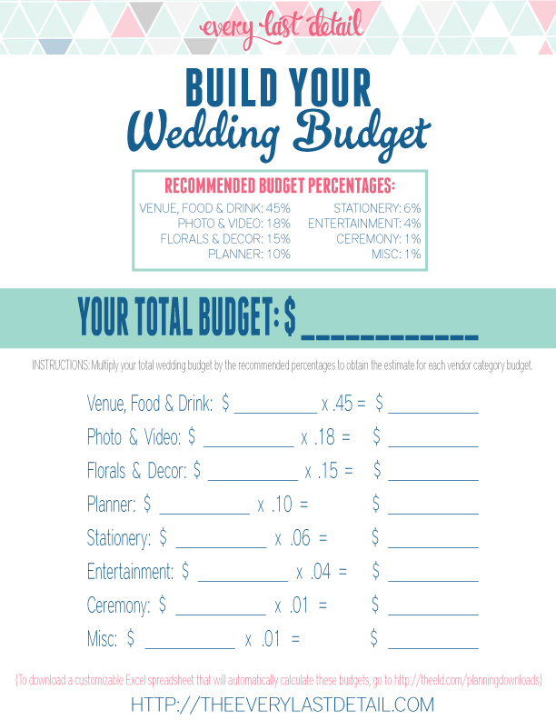 Free Wedding Budget Worksheet Download Every Last Detail