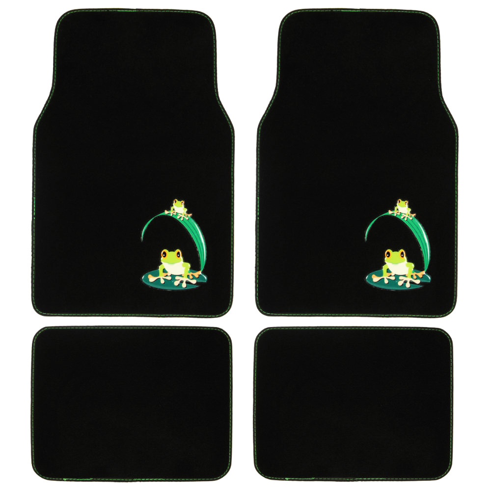 Design Car Floor Mats Green Frog 4 Pc Set For Custom Auto