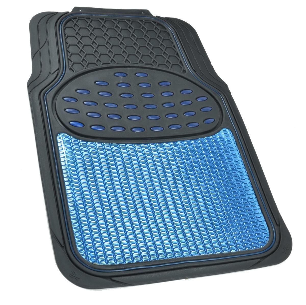 Aluminum Metallic Trimmable Rubber Car Floor Mat Blue