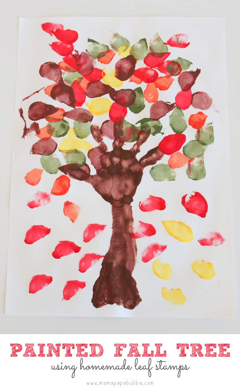 Painted fall tree using homemade leaf stamps mama papa bubba