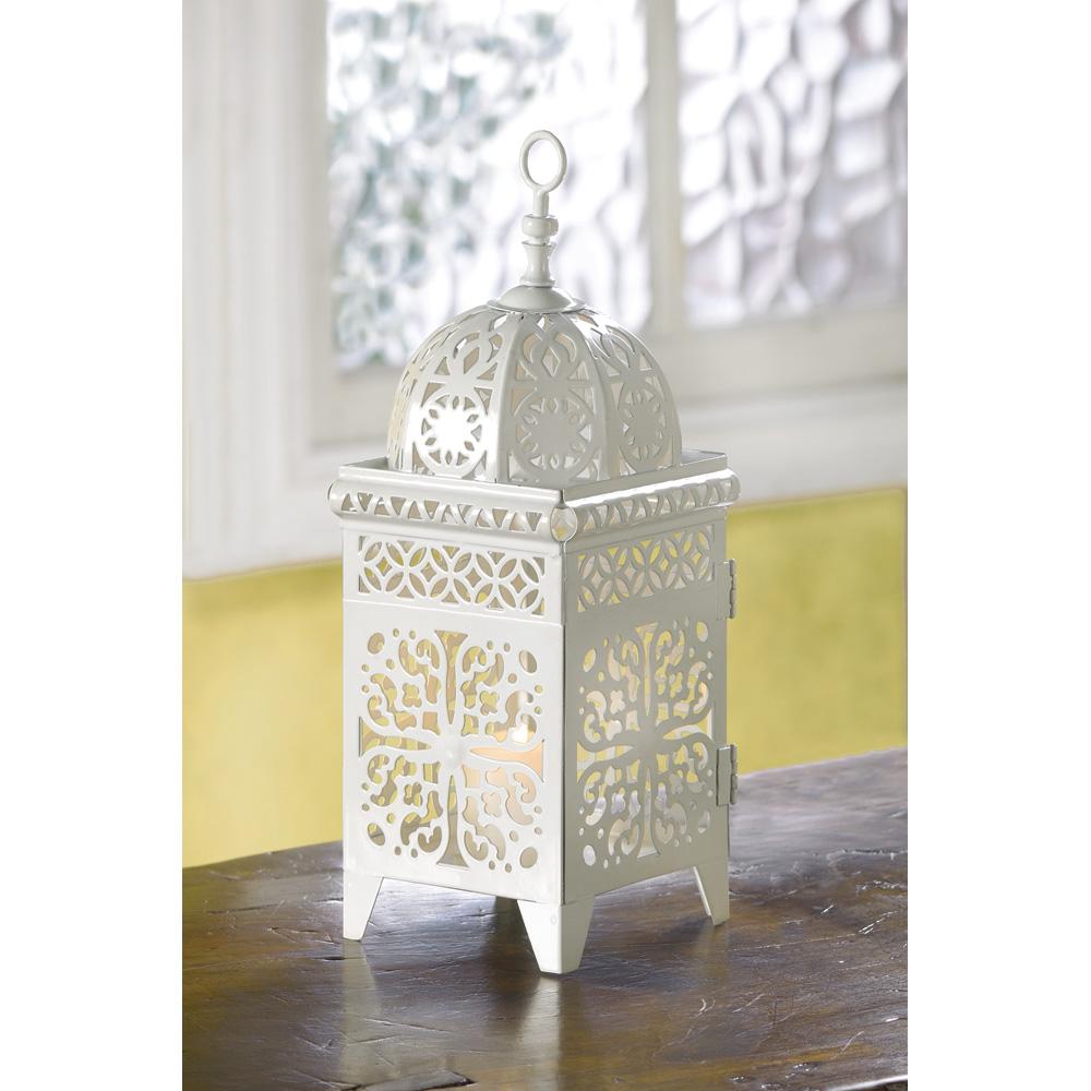 white scrollwork candle lantern lanterns for weddings White Scrollwork Candle Lantern